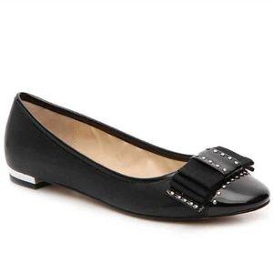 NEW Adrienne Vittadini Leather Studded Bow Flats